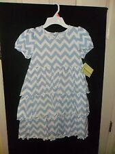 NEW BLUE & WHITE CHEVRON YOKE DRESS PERFECT TO MONOGRAM ON ZUCCINI BOUTIQUE