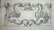 """Eau-forte d'après S. DELLA BELLA,""""Frontispice avec tête de putto""""par F.COLLIGNON"""