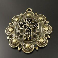 Vintage Bronze Tone Alloy Flower Cross Charm Pendant Jewelry Finding Hot 36055