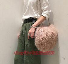 2018 Womens Real Mongolian Fur Flurry Shaggy lamb Fur Bag Wool Fur Chain Bag