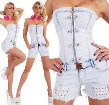 SEXY Women's Corset TUTINA AZZURRO LAVAGGIO Hotpants riverts dimensioni complessive 6-14