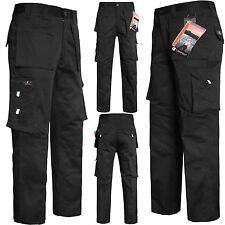 Da Uomo Cargo Combat Lavoro Pantaloni Ginocchio Pad Tasche Meccanico Heavy Duty Pantaloni da lavoro