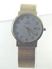 Men's Bulova 97B104 Gold Tone Stainless Expansioin Bracelet White Dial Watch