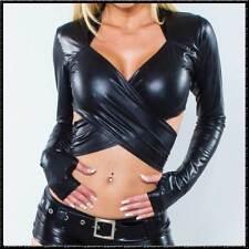 Bolero-Top Langarm Heiss SexY WETLOOK GLÄNZEND SCHWARZ Jacke Top black
