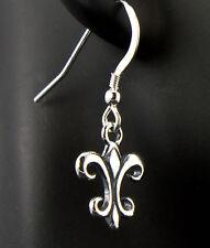 Fleur de Lis Earrings .925 Sterling Silver Petite Fashion Dangle Drop iDu