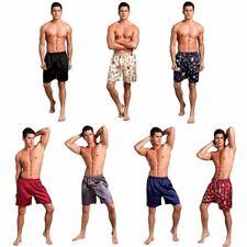 Men Silk Satin Sleep Shorts Robes Shorts Loungewear Underwear Casual Half Pants