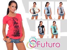 donna top stile casual con stampa a girocollo t-shirt cotone taglie UK 8-14 B06