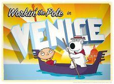 Family Guy Brian Stewie Gondola Venice Italy Funny Italian Travel Poster Artwork