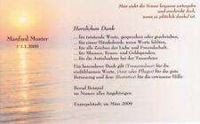Trauer Dankeskarte nach Beerdigung - Sonnenuntergang - mit individuellem Druck
