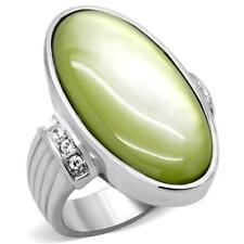K211 PRECIOUS GREEN GEMSTONE OVAL WOMENS RING SIMULATED DIAMONDS STAINLESS STEEL