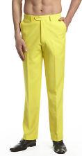 CONCITOR Men's Dress Pants Trousers Flat Front Slacks Solid YELLOW Color