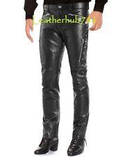 Men Pant Trouser New Genuine Pure Lamb Skin Black Leather Party Wear Stylish 08