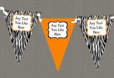 Zebra Print & Orange Personalised Hen Do Night Party Bunting
