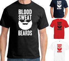 BLOOD SWEAT AND BEARDS T-SHIRT - HIPSTER GYM SLOGAN FUNNY JOKE
