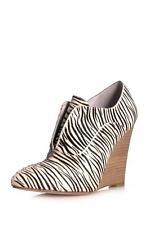 Plomo Rose Rosa Wedge Pump Bootie Zebra Pony black white heels NEW boot