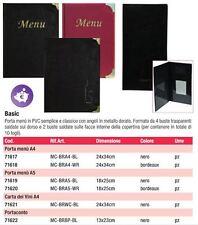 PORTA MENU' BASIC SECURIT VARI COLORI A4 A5 CARTA VINI PORTACONTO PVC ristorante