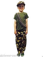 Boys Army Full Length Trousers Camouflage Trouser Cap bullet T Shirt or Full Set