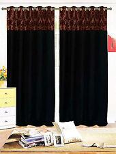 Paire de flockées Damas entièrement doublé œillets rideaux noir marron 3 tailles
