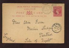 Gibraltar 1898 Qv Papelería a Isla de Wight Ventnor