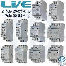 2 POLI 4 POLI 20 Amp 25 Amp 32 Amp 40 Amp 63 Amp CONTATTORE normale aperto guida DIN