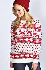 donna renna fiocco di neve AZTECO Natale motivo maglione lavorato a maglia