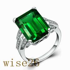 Size Q Emerald Green Solitaire Created Diamond 3 Stone Ring