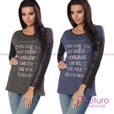 Womens Sweater Hugs Print Pullover Blouse Sweatshirt Jumper Top Size 8-12 6650