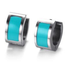 Blue/Red Enamel Stainless Steel Hoop Ear Studs Women's Earrings Buckle Jewellery