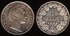 GERMANY BAYERN 1/2 GULDEN 1844 AU