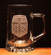 Medieval Knight Helmet engraved glass tankard re-enactment gift present