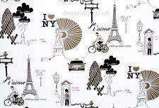 BLACK WHITE PARIS STICKY BACK VINYL FILM PVC WALLPAPER PLASTIC FABLON CITIES MAP