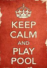 ACR9 Vintage Style Rojo Keep Calm Y Jugar Piscina Deporte divertido Poster Print A2/A3/A4