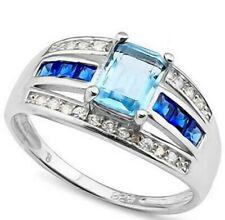 Sky Blue Topaz Genuine Diamond Ring Sterling Silver Emerald cut New