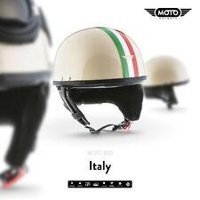 MOTO D22 ITALY CREME - CASQUE DEMI JET VESPA SCOOTER RETRO PILOT - S M L XL XXL