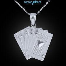 Sterling Silver Royal Flush Pendant Necklace Hearts A K Q J 10 Poker Cards