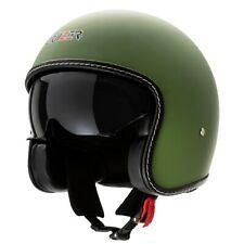 Casco moto Demi Jet Custom Scooter Omologato Verde Bandit Opaco visiera sole a s