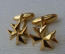925 Sterling Silver Gold Plated Maltese Cross Solid Cufflinks Gemelli