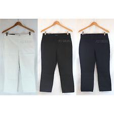 NWT Bandolino KATIE Women Pants Super Stretch Pull-On Capri White/Navy/Black