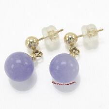 14k Solid Yellow Gold Ball Dangle Lavender Jade Bead Stud Earrings TPJ