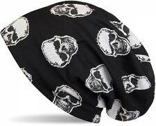 Beanie Mütze mit aufgesetztem Totenkopf Muster, Vintage Skull, Longbeanie Unisex