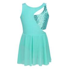 Ladies Sleeveless Skating Dress Sequins Dance Costumes Girls Elegant Clothes New