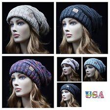 Men Women CC Beanie Cap Bubble Knit Oversize Slouch Baggy Hat Winter Ski Hat