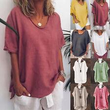 Damen Leinen Bluse Sommer Kurzarm T-Shirt Tops Freizeitshirt Tunika Oberteil 48