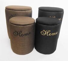 Elegant Round Padded Storage Box Chest Laundry Basket Footstool Cushion Seat