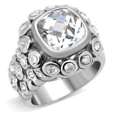 0C705 PRINCESS ROUNDS  SIMULATED DIAMOND RING BEZEL SET STUDDED WOMENS
