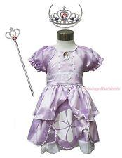 Princess Sofia Crystal Purple Bubble Sleeves Girl Dress & Tiara Costume 12M-6Y