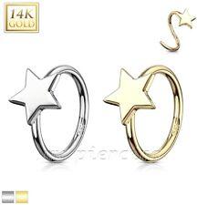 "Yellow Gold Nose Hoop Ring 20G 5/16"" Star 14 Karat Solid White Gold &"