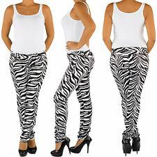 Damen Röhrenhose Stretch Hüfthose Jeans Zebra Muster Skinny Hose Slim Fit