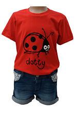 NEW! KIDS dotty 'LADYBIRD' strawberry red T.shirt, 3-4 upto 9-11y