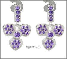 Sterling Silver Flower Dangle Chandelier Earrings w/ CZ